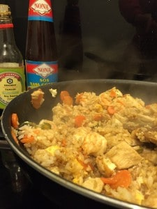 Gluten Free Fried Rice with King Prawns and Chicken