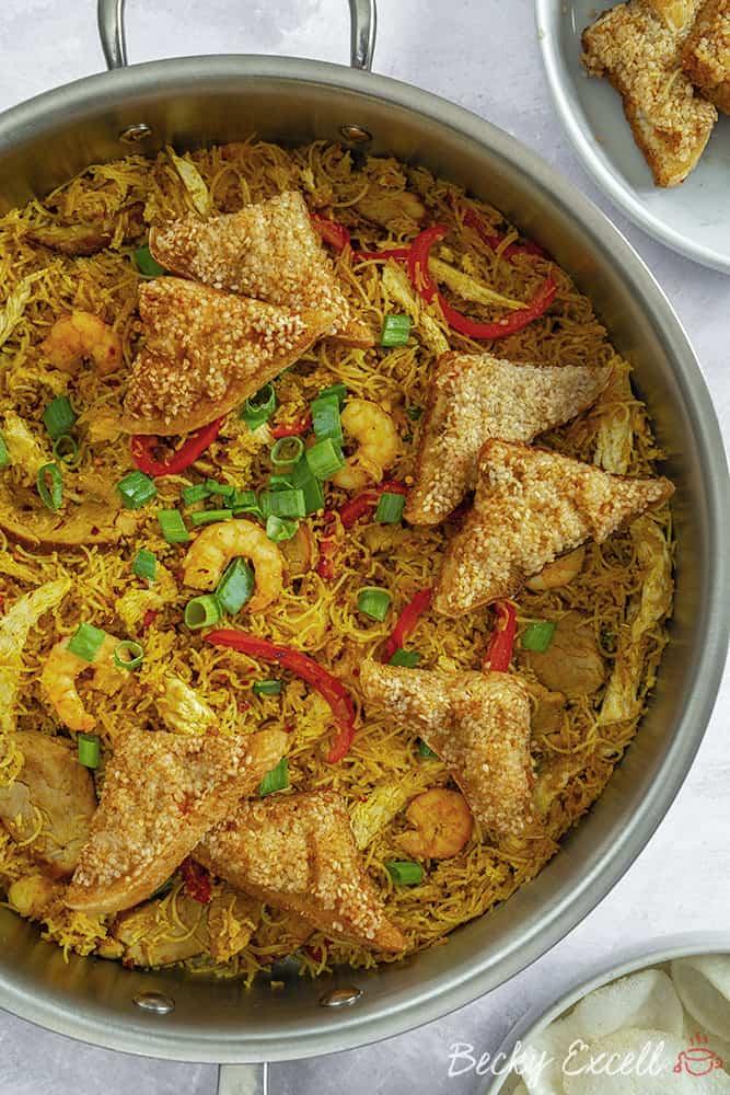 Gluten Free Singapore Noodles Recipe (Takeaway style) | low FODMAP, dairy free