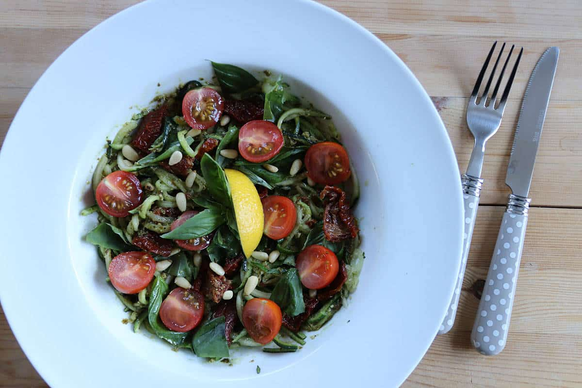 Gluten Free/Vegan Pesto and Sun-dried Tomato Courgetti Salad
