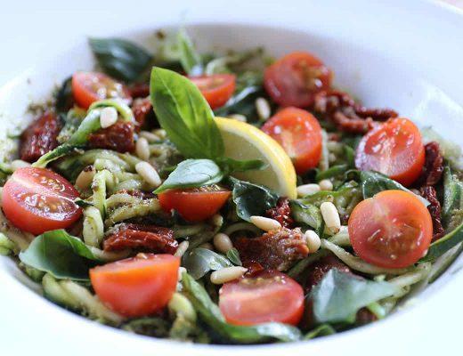 Gluten Free/Vegan Pesto and Sun-dried Tomato Courgetti Salad