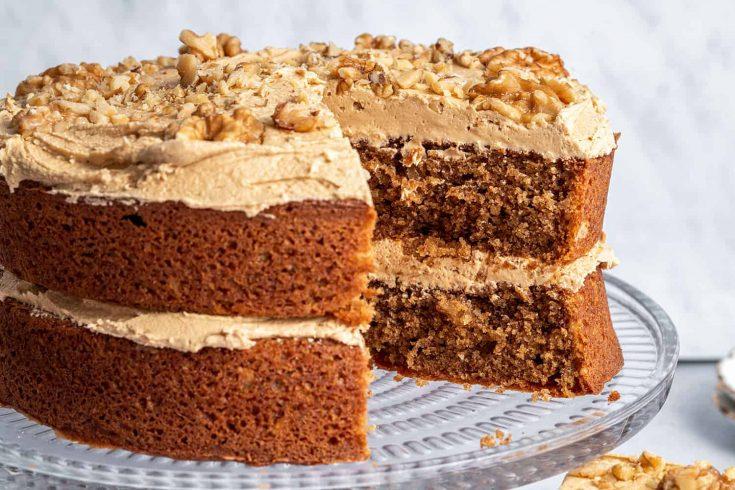 Gluten-free Coffee & Walnut Cake Recipe - BEST EVER! (low FODMAP + dairy-free option)
