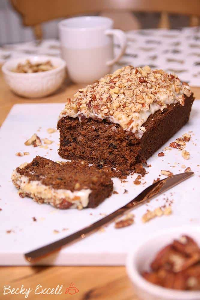 Gluten free carrot loaf cake recipe (dairy free and low FODMAP)