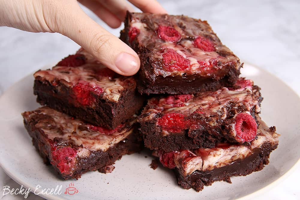 Raspberry Gluten Free Cheesecake Brownie Recipe (dairy free & low FODMAP)