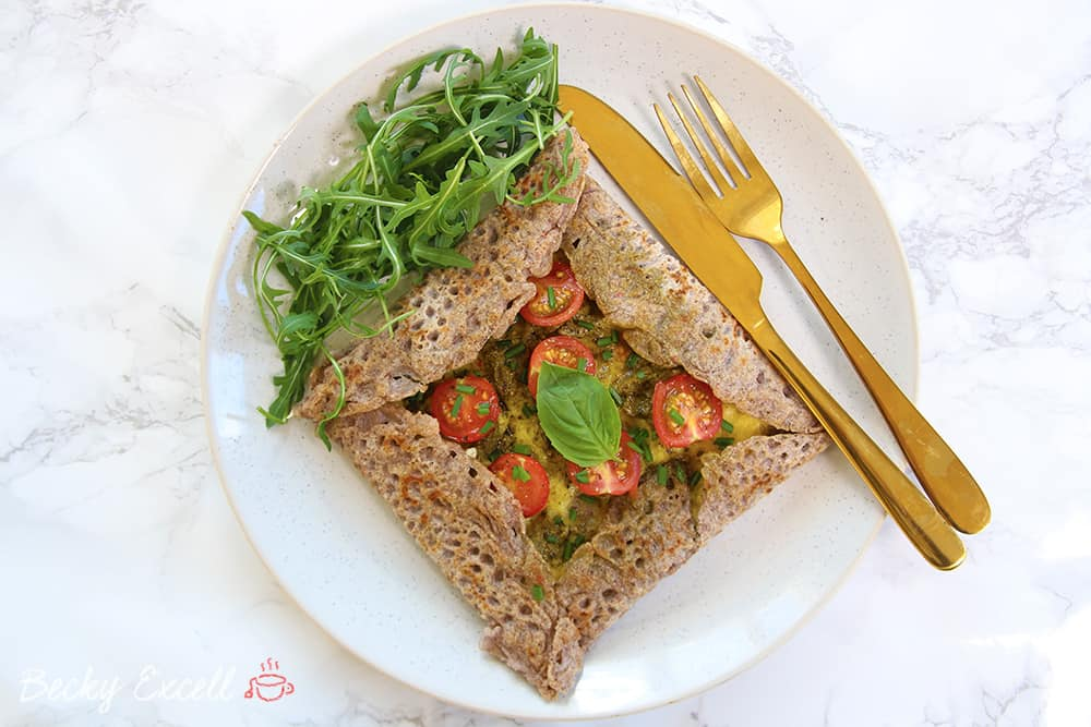 My Basil Pesto Gluten Free and Vegan Buckwheat Galettes Recipe (low FODMAP, egg free)