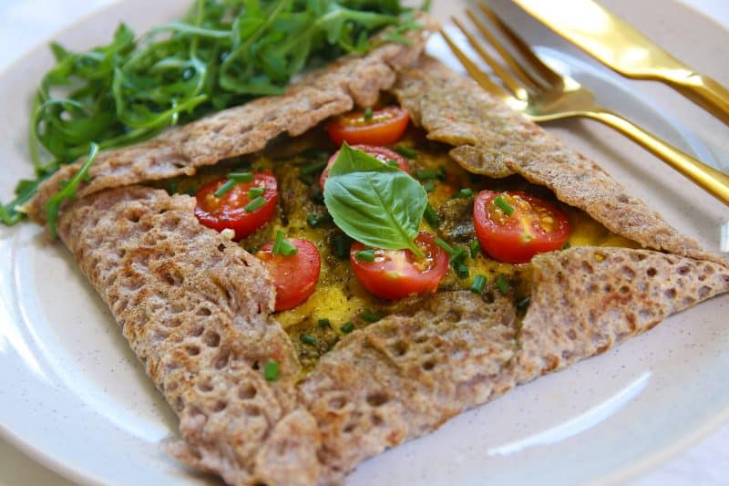 My Basil Pesto Gluten Free and Vegan Buckwheat Galettes Recipe (dairy free, egg free)