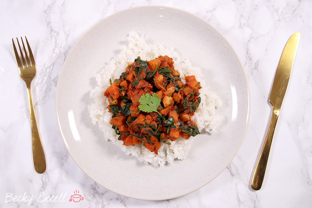 Gluten Free and Vegan Spinach and Chickpea Curry Recipe (low FODMAP)