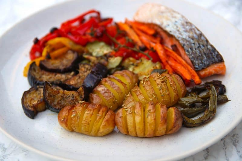 My 'Three Tray' Salmon and Roasted Vegetables Recipe (gluten free, low FODMAP)