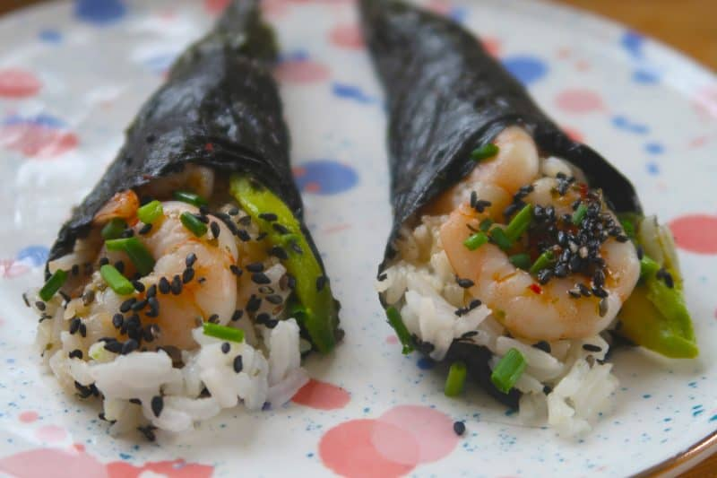 My 'Simple AF' Prawn and Avocado Sushi Hand Rolls Recipe (gluten free, low FODMAP)