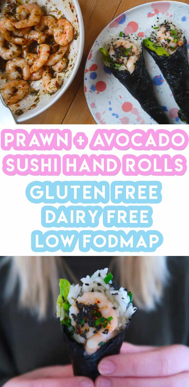 My Prawn & Avocado Sushi Hand Rolls Recipe (gluten free, low FODMAP)