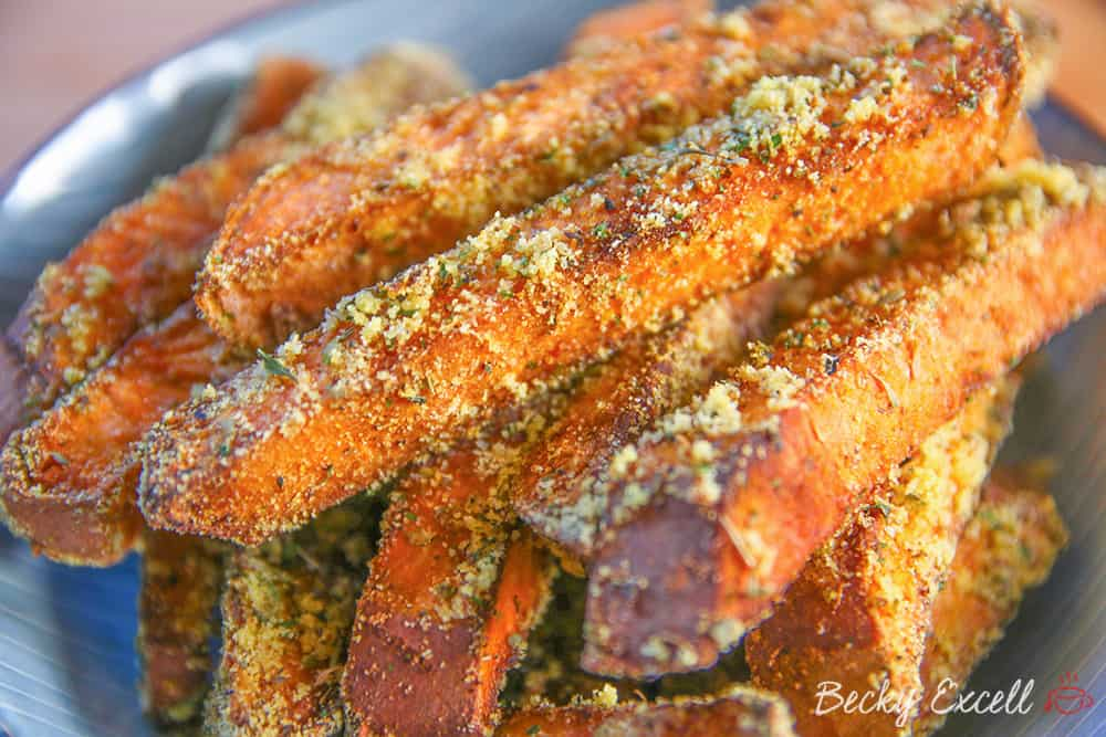 Gluten Free Sweet Potato Fries Recipe with a Polenta and Herb Crumb