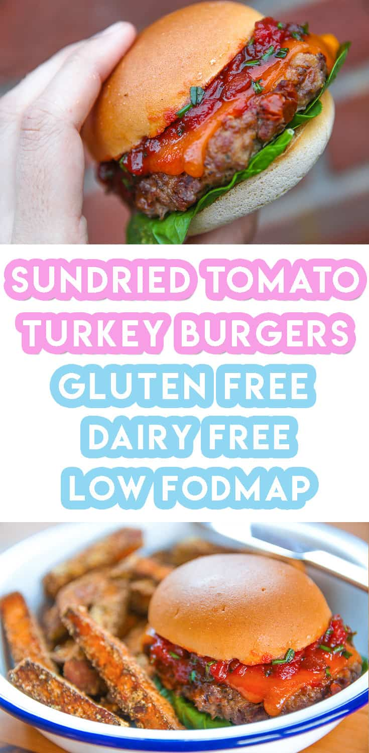 My Sundried Tomato and Basil Turkey Burgers Recipe with low FODMAP relish