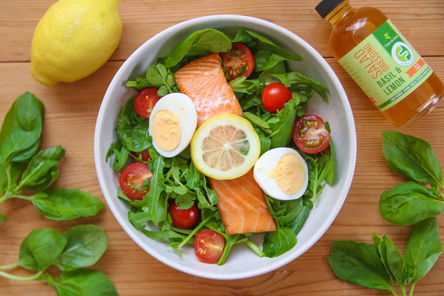 My Roasted Salmon and Egg Salad Recipe with Basil and Lemon Dressing (low FODMAP, dairy free)