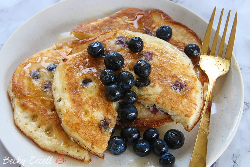 5 Ingredient Gluten Free Blueberry Pancakes Recipe (dairy free, low FODMAP)