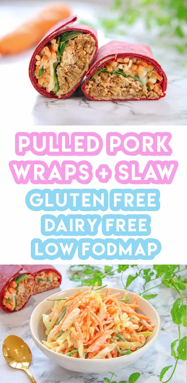 gluten freeBBQ pulled pork wraps and homemade slaw