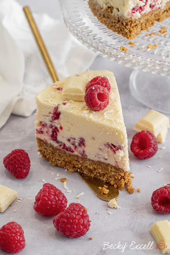 My Gluten Free White Chocolate and Raspberry Cheesecake Recipe (No-Bake)