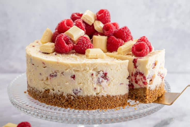 Gluten Free White Chocolate and Raspberry Cheesecake Recipe (No-Bake)