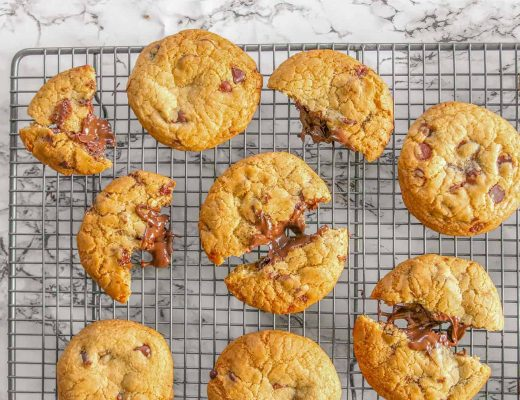 gluten free nutella-stuffed choc chip cookies
