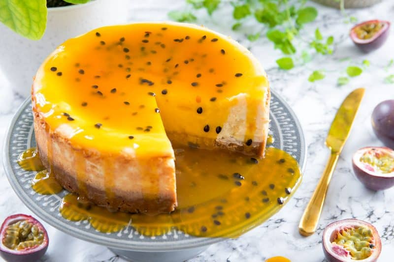 My Gluten Free Passion Fruit Baked Cheesecake Recipe
