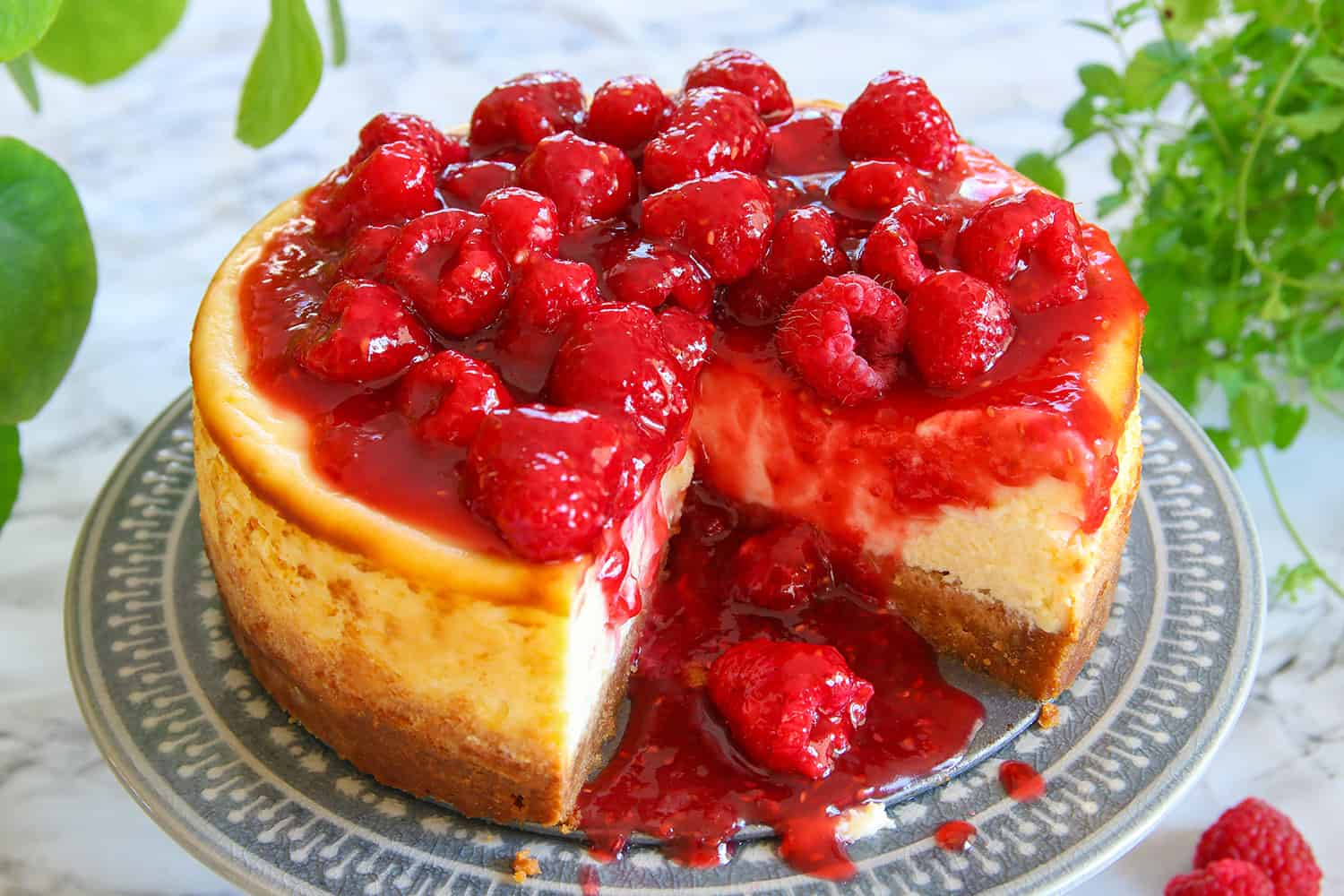 Gluten Free Baked New York Cheesecake Recipe With Raspberry Topping