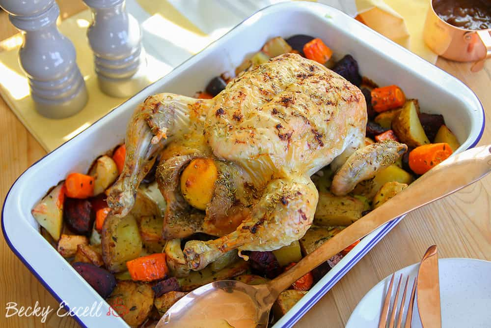 My One Pan Roasted Chicken and Veggies Recipe (gf, df + low FODMAP)