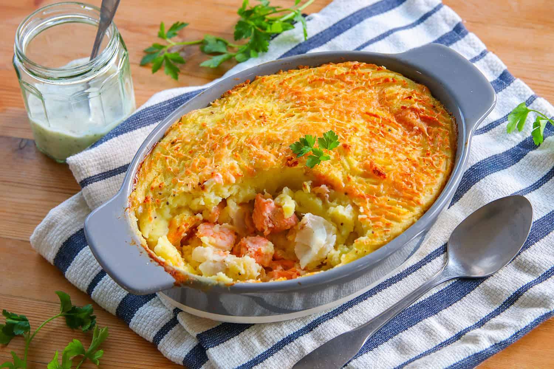 Gluten Free Fish Pie Recipe (dairy free + low FODMAP)