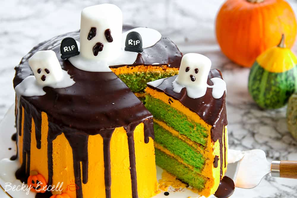 Gluten Free Halloween Drip Cake Recipe with Marshmallow Ghosts (dairy free)