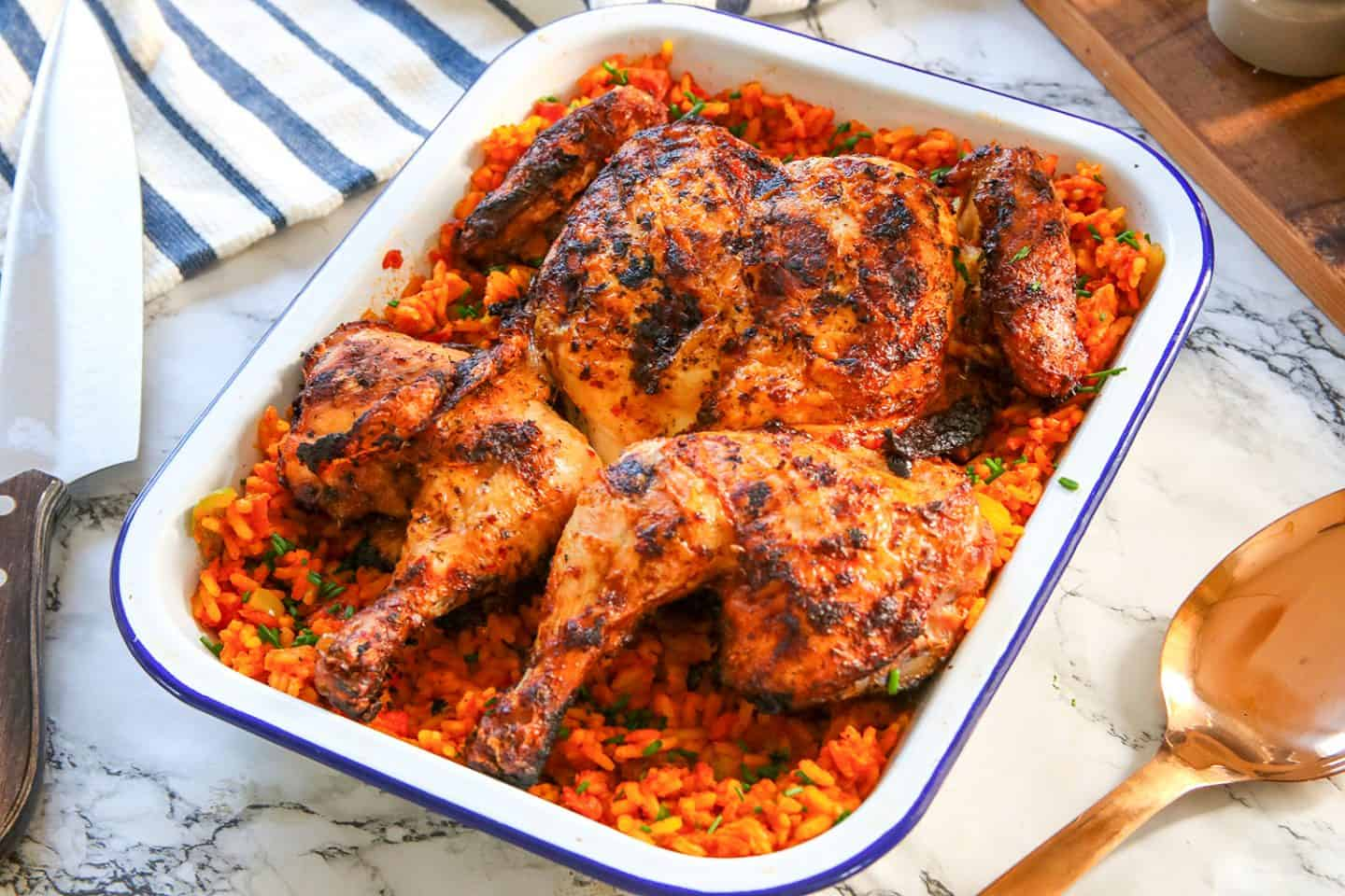 Gluten Free Peri-Peri Chicken Recipe with Spicy Rice - Nando's style - (low FODMAP)