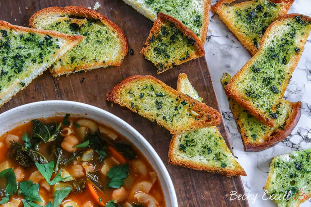 My One-Pot Gluten Free Minestrone Soup Recipe with 3-Ingredient Herby Croutons