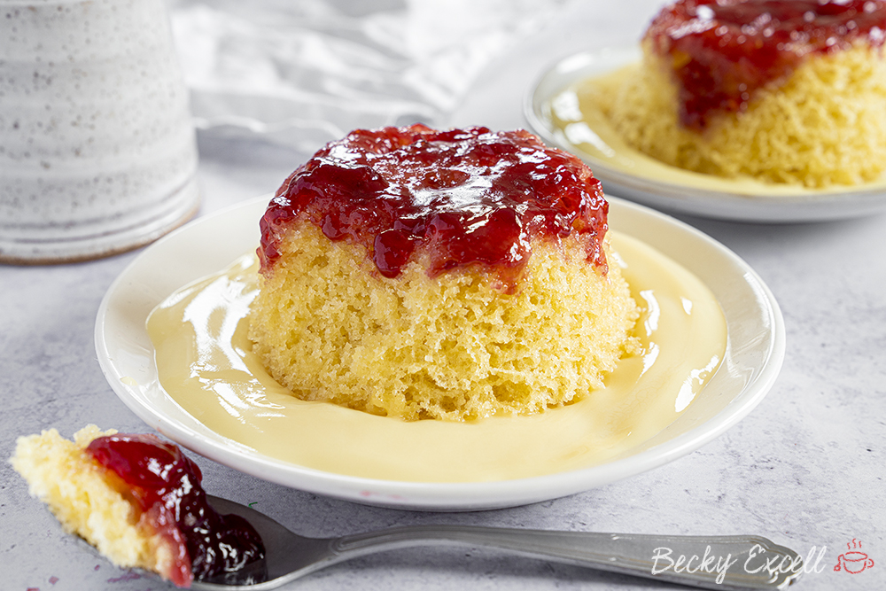 Microwaveable Gluten Free Jam Sponge Pudding Recipe (dairy free)