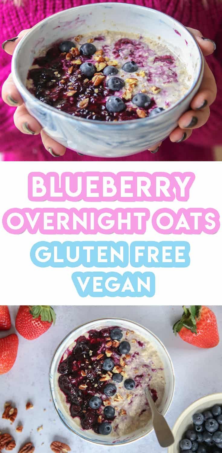 Gluten free Blueberry Crunch Overnight Oats Recipe (vegan, dairy free)