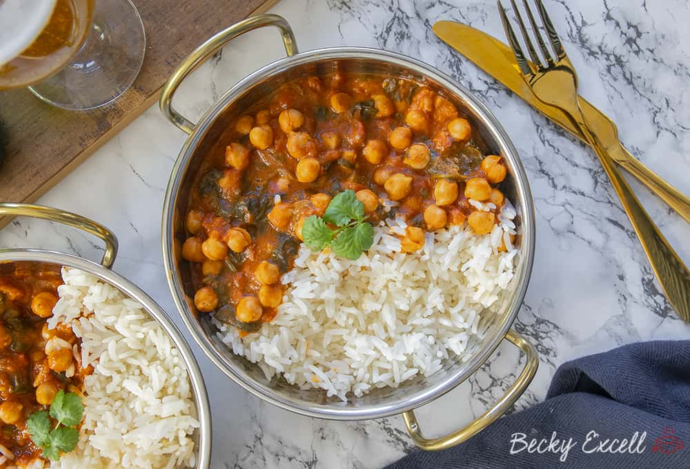 My 15 Minute Gluten Free Chickpea Tikka Masala Recipe (vegan, low FODMAP)