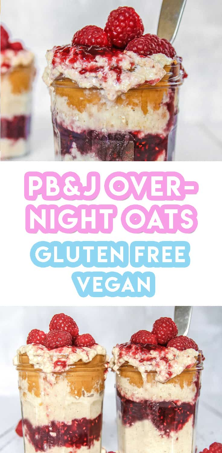 Gluten free Peanut Butter and Jam Overnight Oats Recipe (vegan, dairy free)