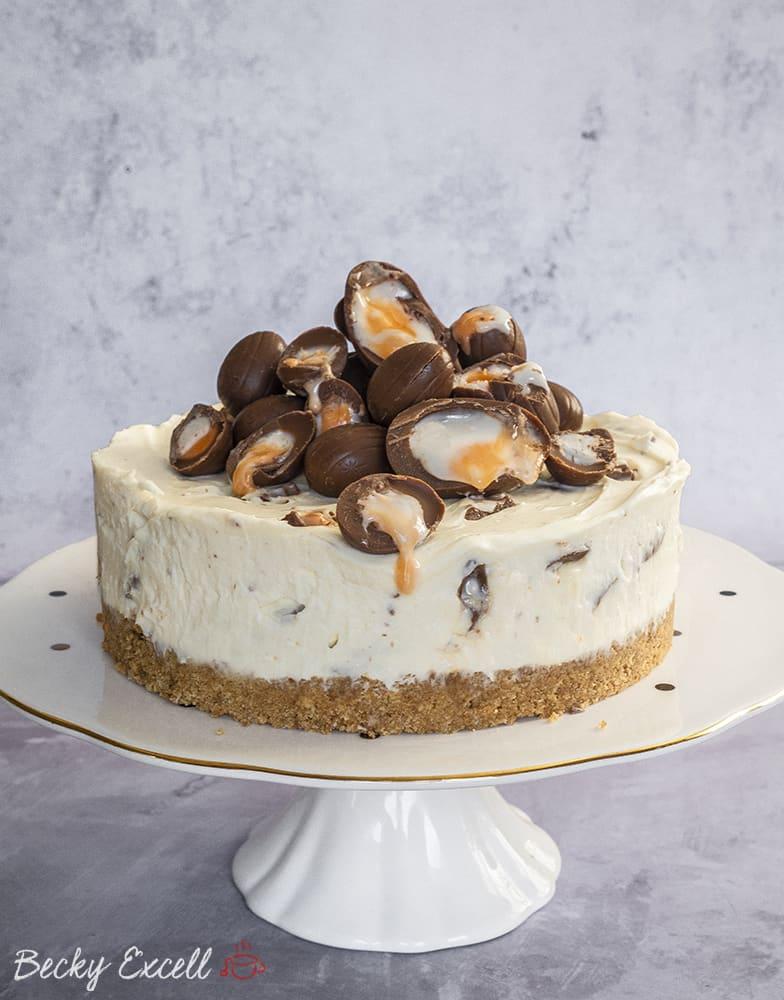 Gluten Free Creme Egg Cheesecake Recipe (No-Bake)