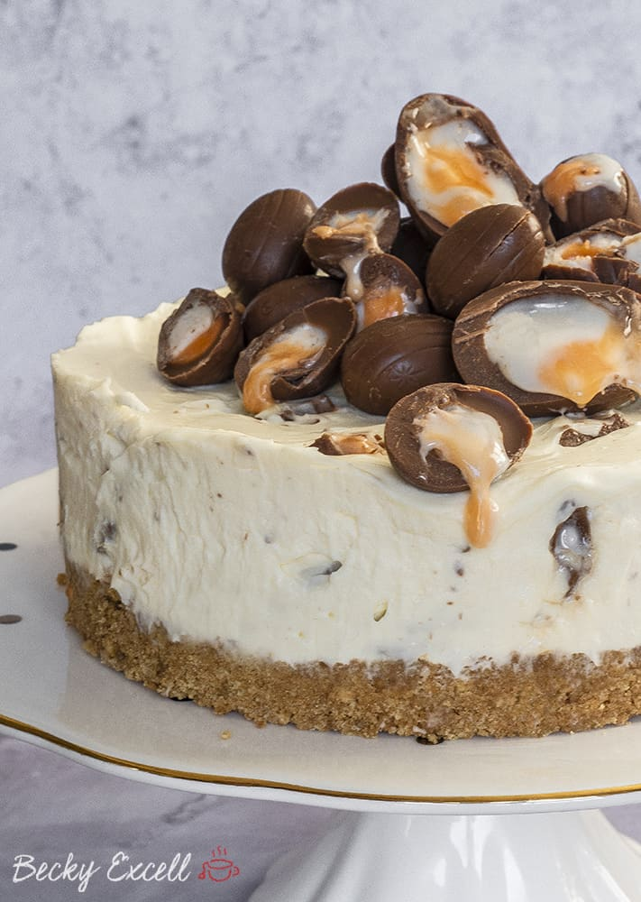 Gluten Free Creme Egg Cheesecake Recipe (No-Bake)