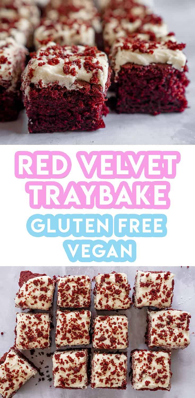 My Gluten Free Red Velvet Traybake Recipe (vegan + dairy free)
