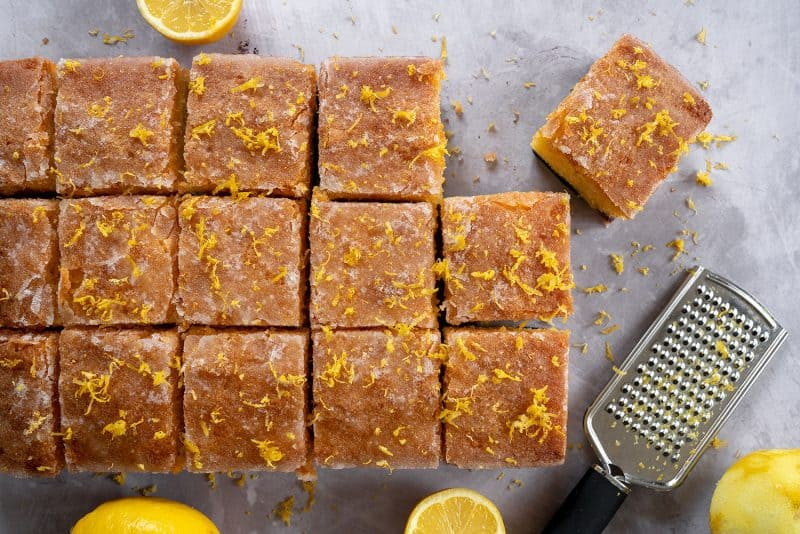 My Gluten Free Lemon Drizzle Traybake Recipe (dairy free, low FODMAP)