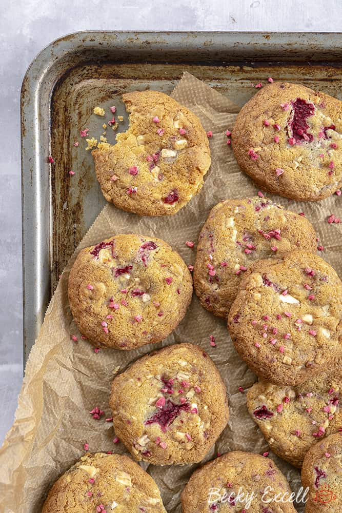 Gluten Free White Chocolate and Raspberry Cookies Recipe (dairy free)