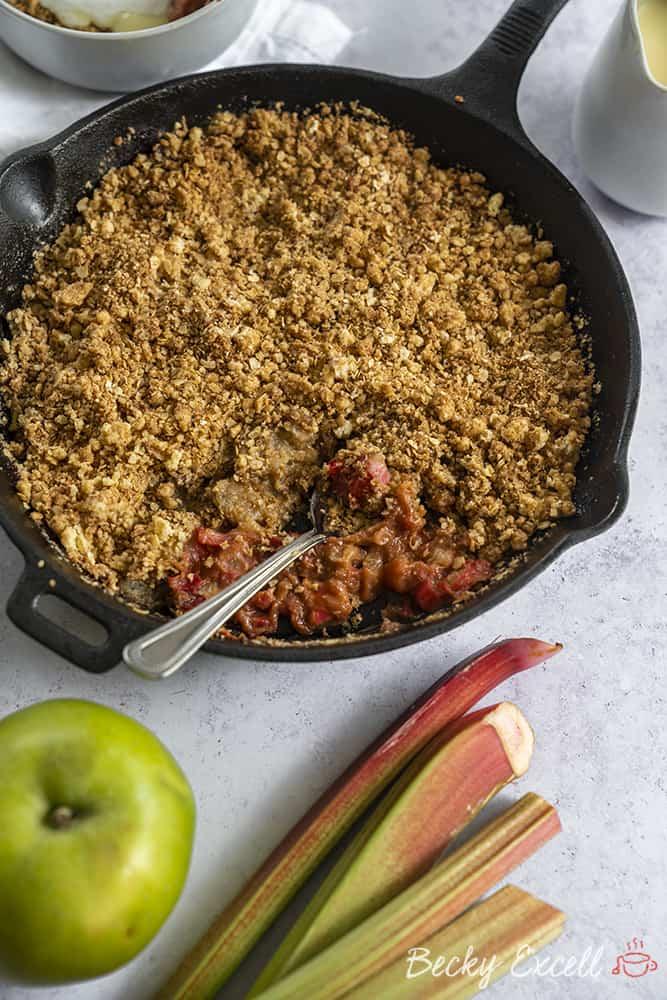 Gluten Free Apple and Rhubarb Crumble Recipe (vegan + dairy free)
