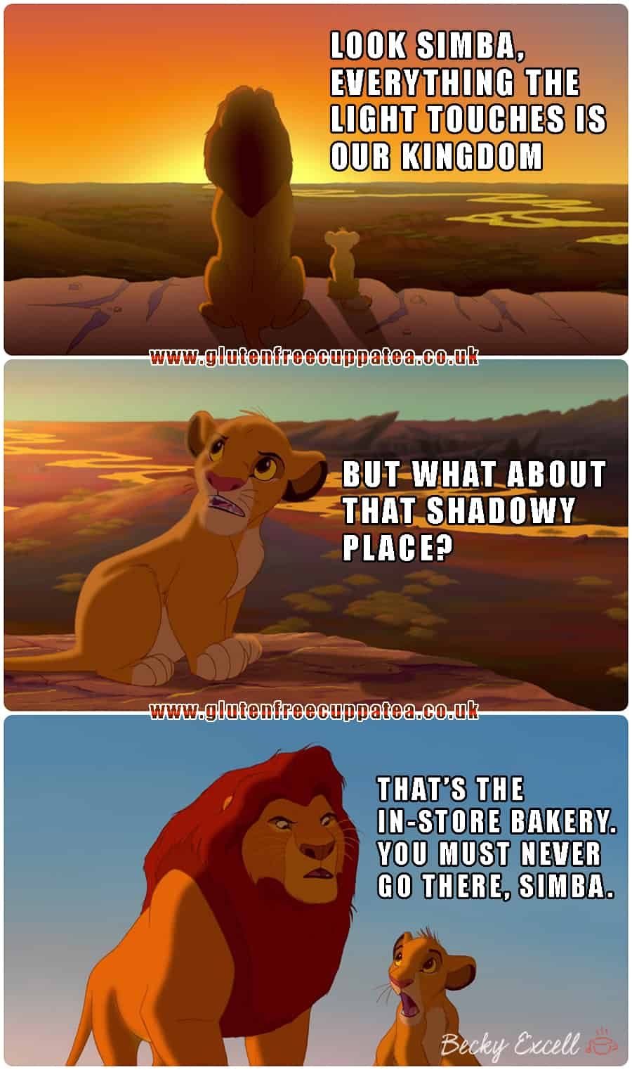 You know you're gluten free when... - Lion King Meme