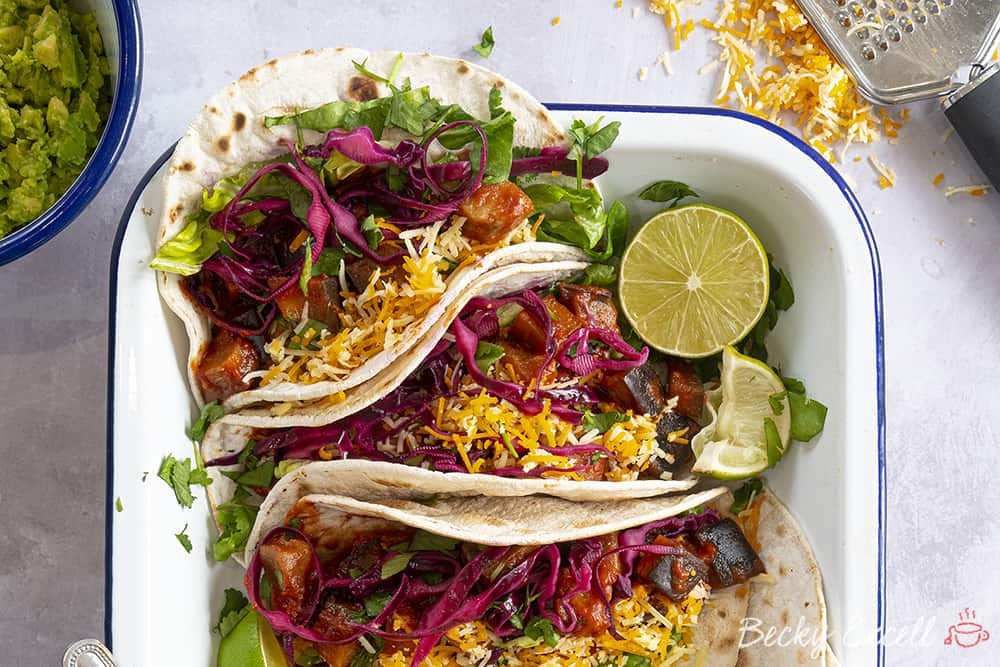 My Gluten Free Veggie Chilli Tacos with Pink Pinkled Cabbage Recipe (vegan, low FODMAP)