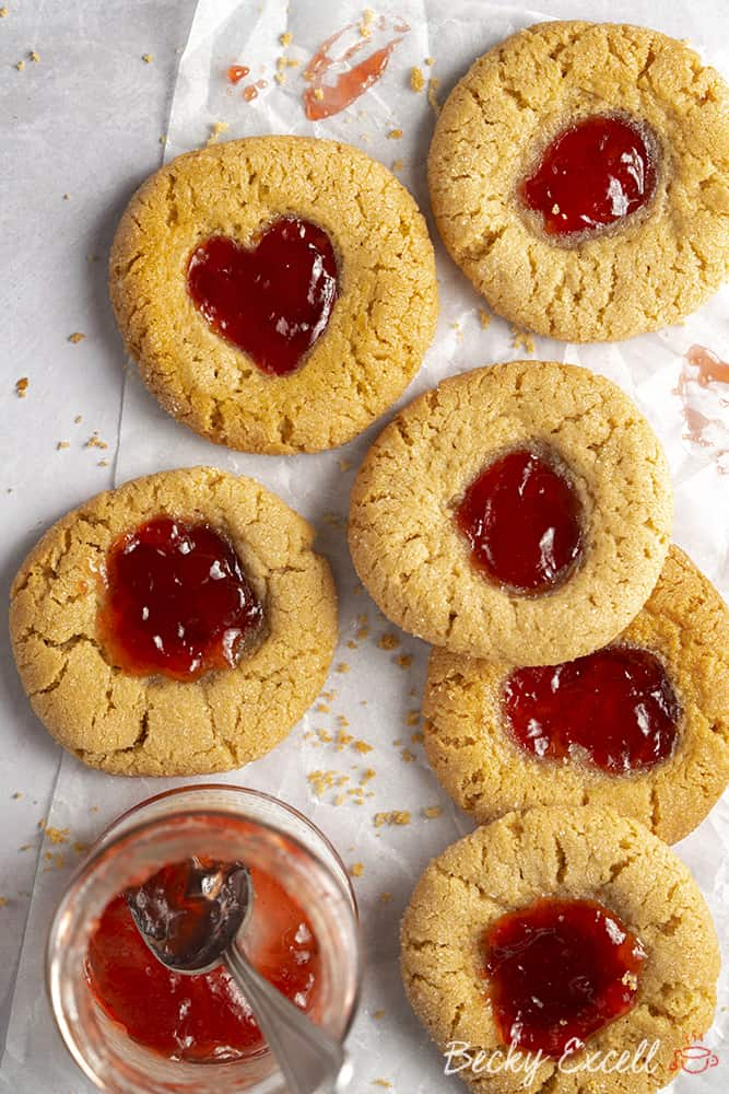 Gluten Free Thumbprint Cookies Recipe (dairy free option, low FODMAP)