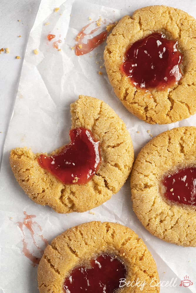 Gluten Free Thumbprint Cookies Recipe (dairy free option, low FODMAP)