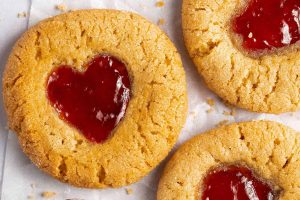 Peanut Butter and Jam Gluten Free Thumbprint Cookies Recipe (vegan + dairy free option)