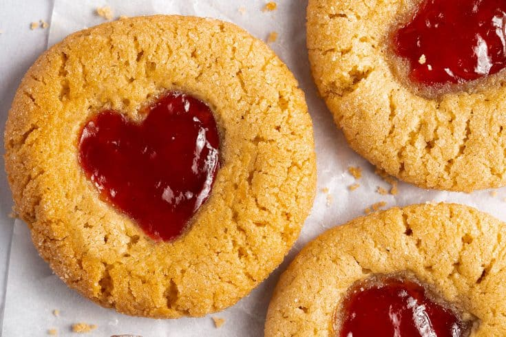Peanut Butter and Jam Gluten Free Thumbprint Cookies Recipe (dairy free option, low FODMAP)