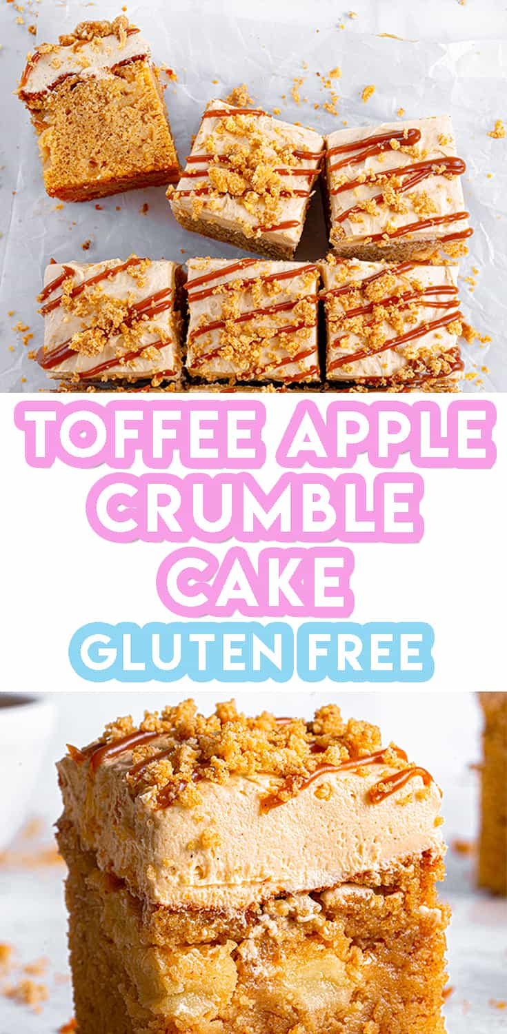 Gluten Free Toffee Apple Crumble Cake Recipe (dairy free option)