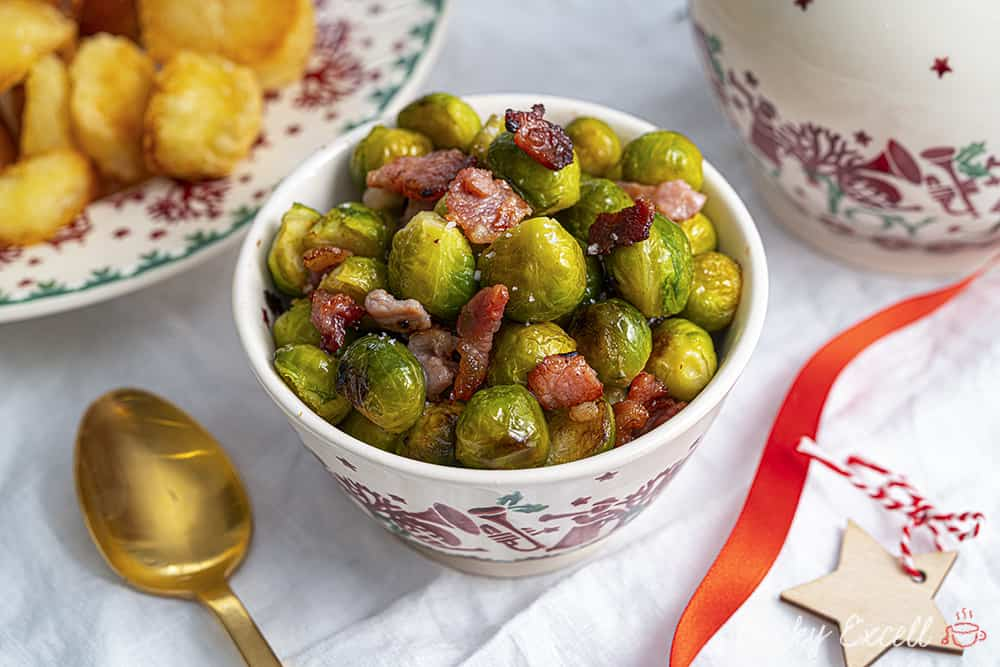Roasted Brussels Sprouts with Bacon Recipe (dairy free, low FODMAP)
