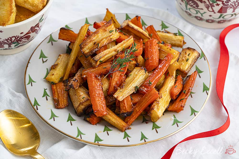 Sticky Maple and Orange Roasted Parsnips and Carrots Recipe (dairy free/vegan, low FODMAP)