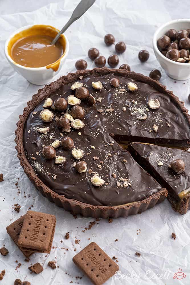 My No-Bake Gluten Free Chocolate and Salted Caramel Tart Recipe