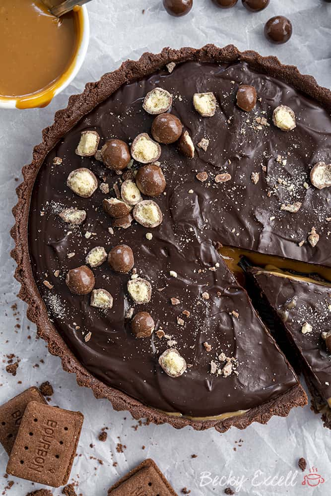 My No-Bake Gluten Free Chocolate and Salted Caramel Tart Recipe