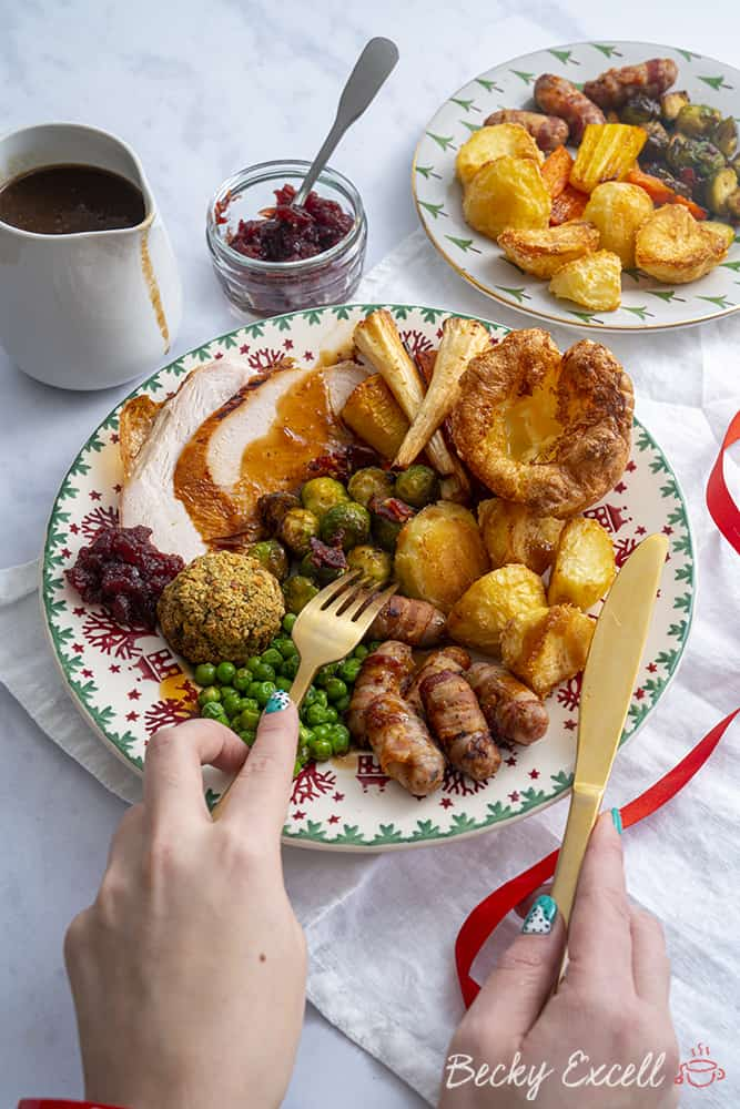 Christmas roast dinner, gluten free and low FODMAP